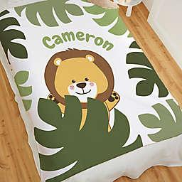 Jolly Jungle Lion Sherpa Baby Blanket in Green