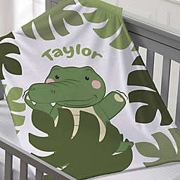 Jolly Jungle Gator Fleece Baby Blanket in Green