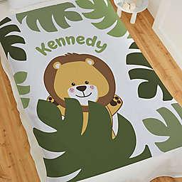 Jolly Jungle Lion 60-Inch Sweatshirt Baby Blanket in Green