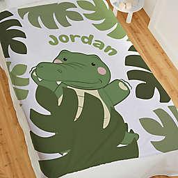 Jolly Jungle Gator 80-Inch Fleece Baby Blanket in Green