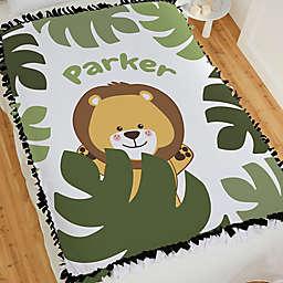 Jolly Jungle Lion 60-Inch Tie Baby Blanket in Green