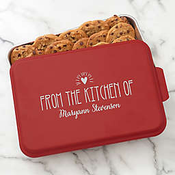 Made With Love Personalized Cake Pan with Red Lid