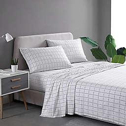 City Scene® Beekman Plaid Cotton Percale Queen Sheet Set in Grey