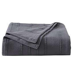 Vera Wang® Open Stripe Blanket in Charcoal