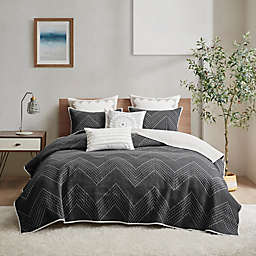INK+IVY Pomona Cotton Embroidered 3-Piece Full/Queen Coverlet Set in Black