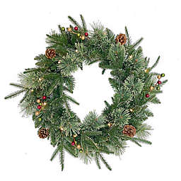 Bee & Willow™ 24-Inch Classic Premium Pre-Lit Artificial Christmas Wreath in Green