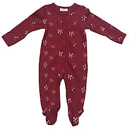 Baby Sterling Autumn Print Snap Front Waffle Footie in Burgundy