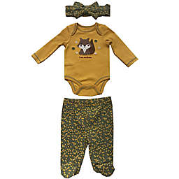 Sterling Baby 3-Piece I'm New Here Headband, Bodysuit, and Pant Set in Mustard