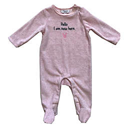 Sterling Baby Hello I'm New Here Velour Footie in Light Pink