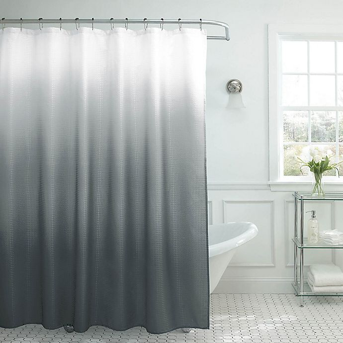 Alternate image 1 for Ombre Weave 70-Inch x 72-Inch Shower Curtain in Dark Grey