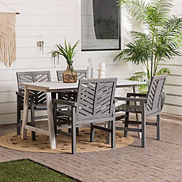 Forest Gate Boho Slat 5-Piece Outdoor Dining Set in White/Grey