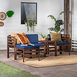 Forest Gate 5-Piece Modern Modular Patio Chat Set in Dark Brown/Navy