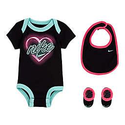 Nike® Size 0-6M 3-Piece Neon Heart Bodysuit, Bib, and Bootie Set
