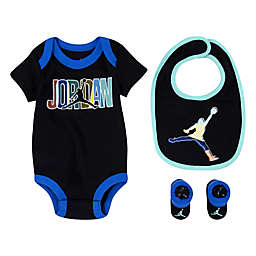 Jordan® 3-Piece Bodysuit, Bootie and Hat Set in Black/Blue