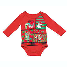 """Baby Starters® """"My First Ugly Sweater"""" Long Sleeve Bodysuit in Red"""