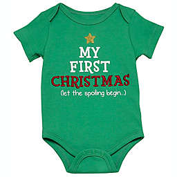 """Baby Starters® Size 12M """"My First Christmas"""" Short Sleeve Bodysuit in Green"""