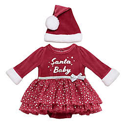 """Baby Starters® 2-Piece """"Santa Baby"""" Bodysuit Dress with Tutu and Hat"""