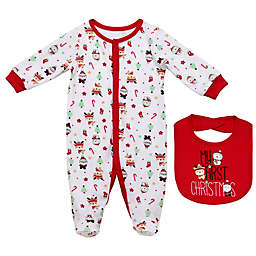 Baby Starters® 2-Piece First Christmas Sleep and Play and Bib Set in White