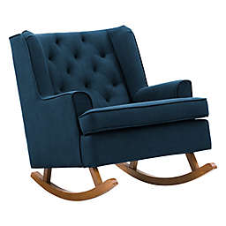 CorLiving Tufted Fabric Rocking Chair in Navy