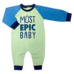 """Kapital K™ """"Most Epic Baby"""" Coverall in Blue/Green"""