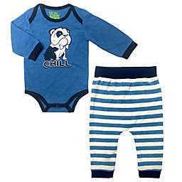 "Kapital K™ 2-Piece ""Chill"" Bulldog Bodysuit and Jogger Set in Blue"
