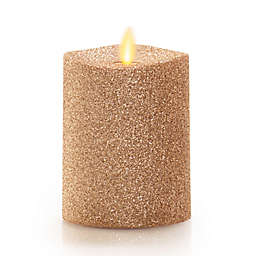 Luminara® Gold Glitter Real-Flame Effect 4-Inch Pillar Candle