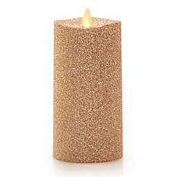 Luminara® Glitter Real-Flame Effect 6-Inch Pillar Candle in Gold