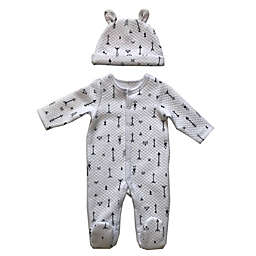 Sterling Baby 2-Piece Arrow Quilted Footie and Hat Set in White