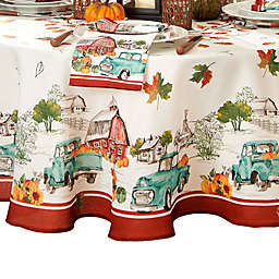 Farm Fresh Pumpkin Truck Fall 70-Inch Round Tablecloth