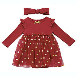 Baby Starters® 2-Piece Foil Dot Dress and Headband Set in Red/Gold