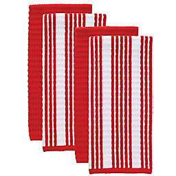 T-fal® 4-Pack Solid and Stripe Waffle Terry Kitchen Towels in Red