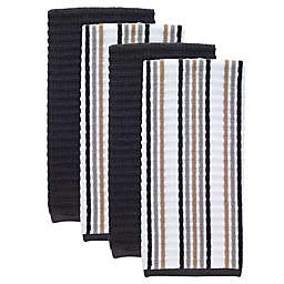 T-fal® 4-Pack Solid and Stripe Waffle Terry Kitchen Towels