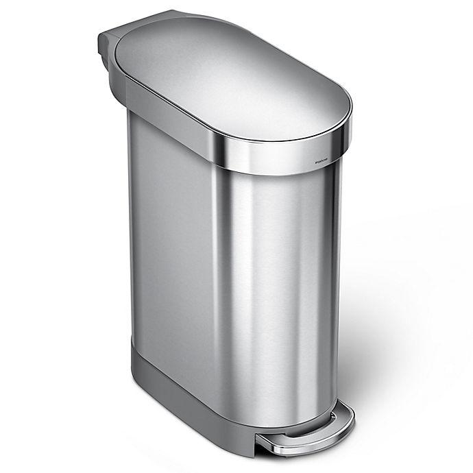 Alternate image 1 for simplehuman® Slim 45-Liter Step-On Trash Can with Liner Rim