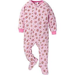 Gerber® Size 24M Leopard Fleece Footed Pajamas in Pink