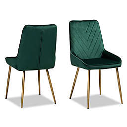 Baxton Studio Storm Velvet Dining Side Chairs in Green (Set of 2)