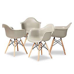 Baxton Studio Trista Dining Arm Chairs in Beige (Set of 2)