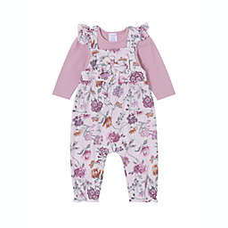 Kidding Around 2-Piece Pretty Floral Top and Overall Set in Pink