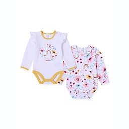 Kidding Around 2-Pack Baby Girl Bodysuits in Rainbow