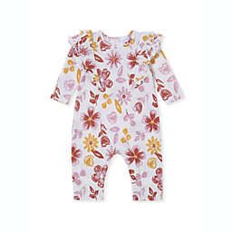 Kidding Around Size 12M Floral Crinkle Knit Romper in Ivory
