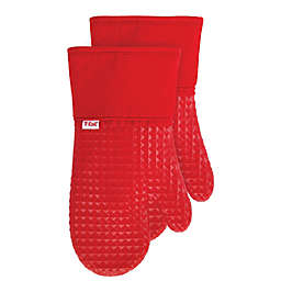 T-fal® 2-Pack Waffle Cotton and Silicone Oven Mitts in Red