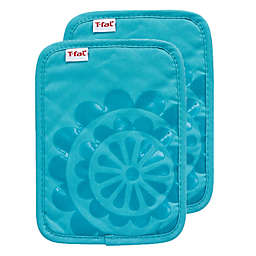 T-fal® 2-Pack Medallion Cotton and Silicone Pot Holders in Breeze