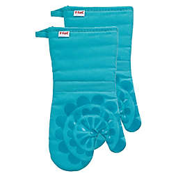 T-fal® 2-Pack Medallion Cotton and Silicone Oven Mitts