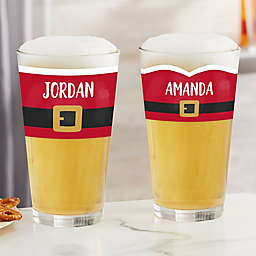 Santa Belt 16 oz. Personalized Christmas Pint Glass