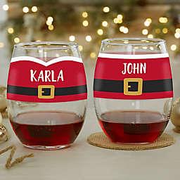 Santa Belt Personalized Christmas Stemless Wine Glass