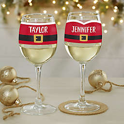 Santa Belt Personalized Christmas White Wine Glass