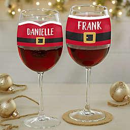 Santa Belt Personalized Christmas Red Wine Glass
