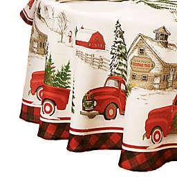 Vintage Christmas Tree Farm 70-Inch Round Tablecloth