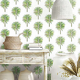 RoomMates® Cat Coquillette Fun Fronds Peel & Stick Wallpaper in Green/White