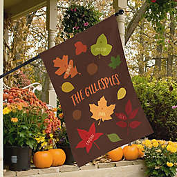 Fall Family Leaf Character House Flag
