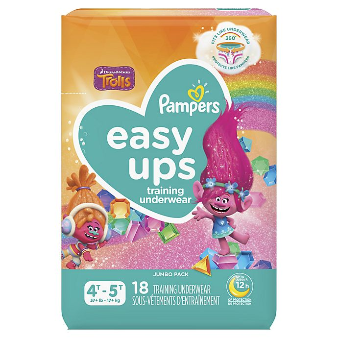 Alternate image 1 for Pampers® Easy Ups™ Size 4-5T 18-Count Jumbo Pack Girl's Training Underwear